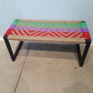 Woven Seat Iron Bench Nadeau Paramus