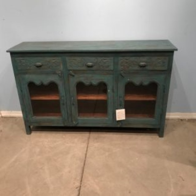Awesome 3 Drawer 3 Glass Door Sideboard