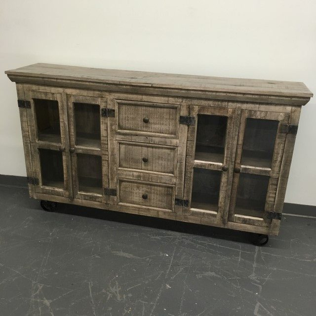 Industrial buffet with glass doors and metal accents nadeau tampa - Buffet metal industriel ...