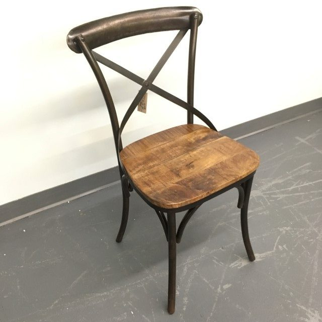 X Back Metal Chair With Wood Seat Nadeau Tampa