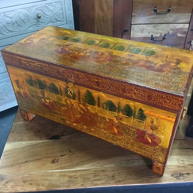 Antique Painted Trunk - Antique Painted Trunk - Nadeau Tampa