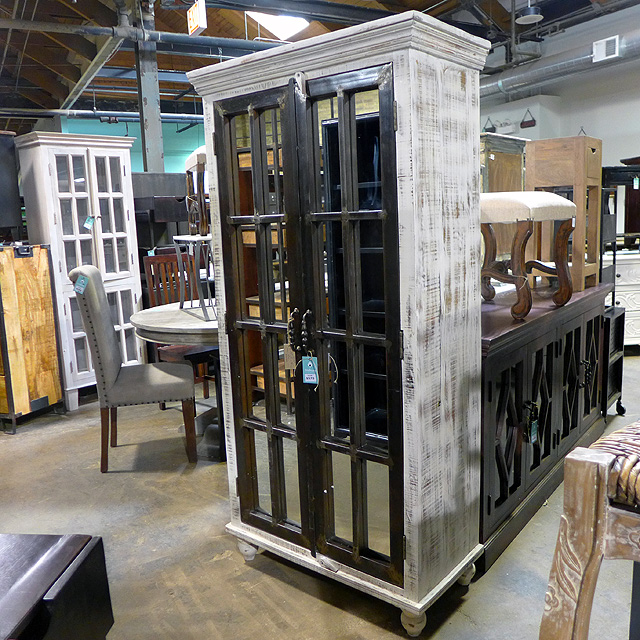 Iron And Wood Cabinet With Mirror Doors Nadeau Huntsville