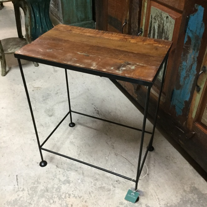 Iron and wood side table nadeau miami for Iron and wood side table