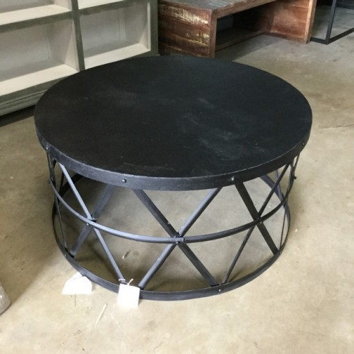 Round Metal Coffee Table on Nadeau Furniture Console