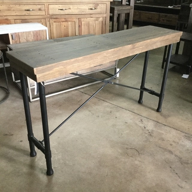 Reclaimed Pine Industrial Console Table