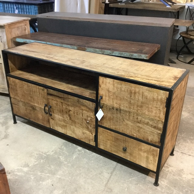industrial tv stand with three doors