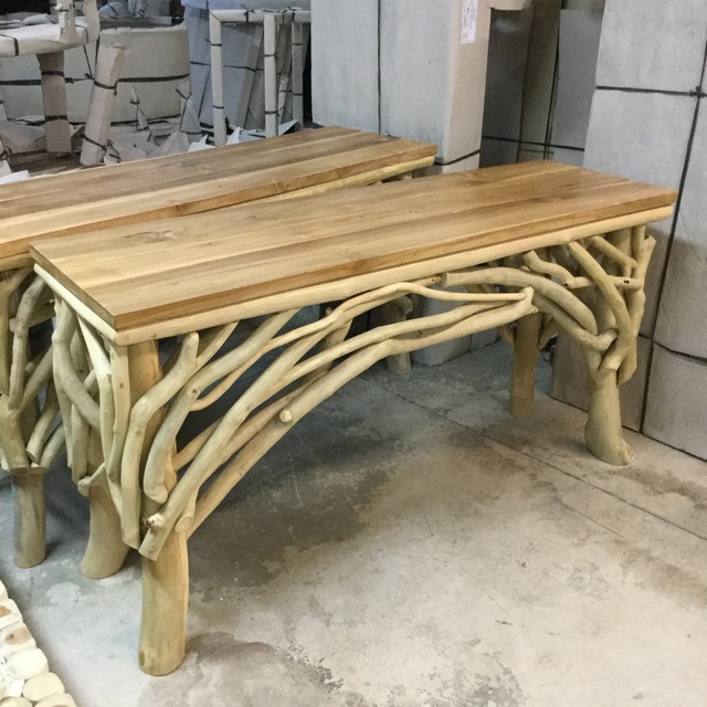 Exceptional Teak Wood Console Table