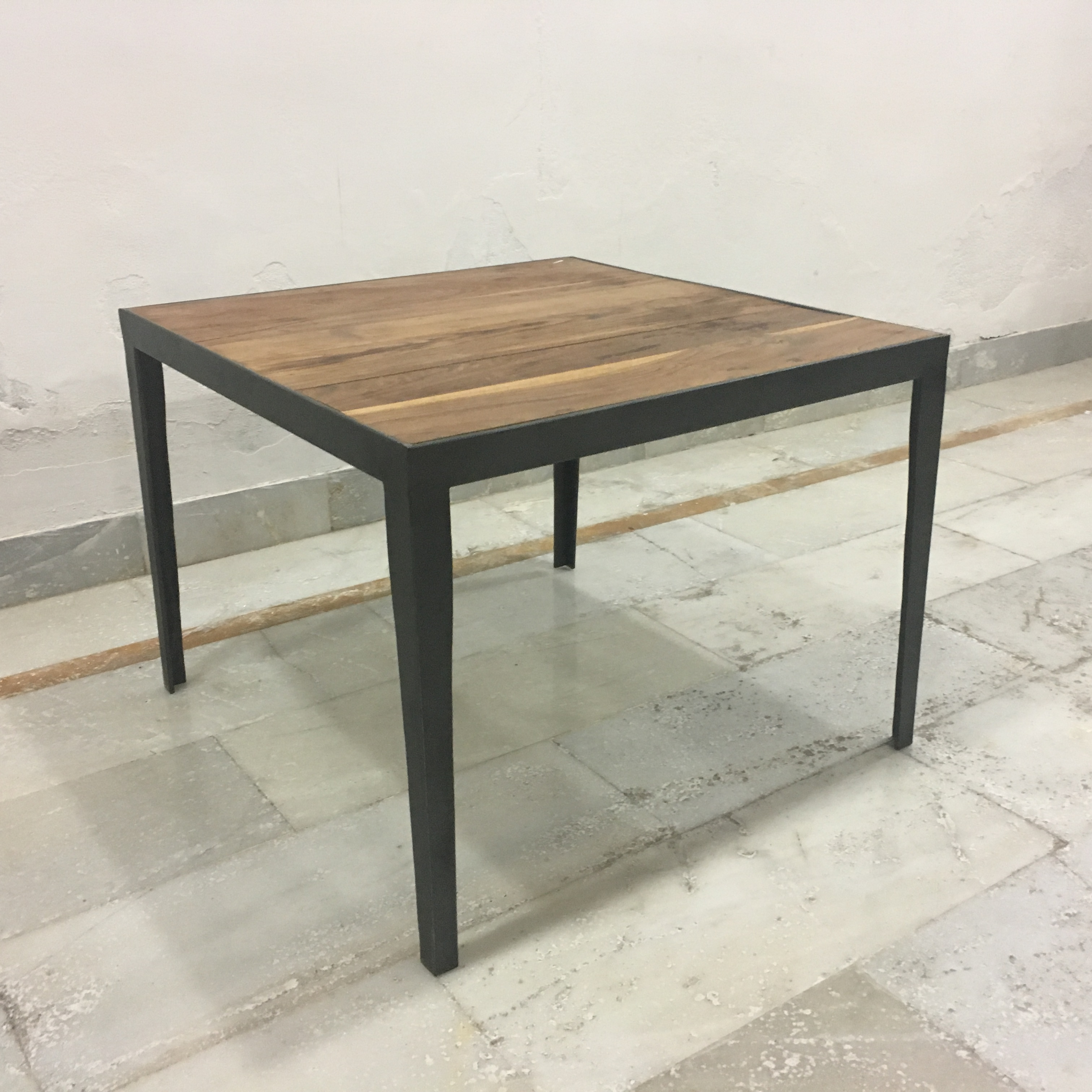 Iron And Teak Side Table
