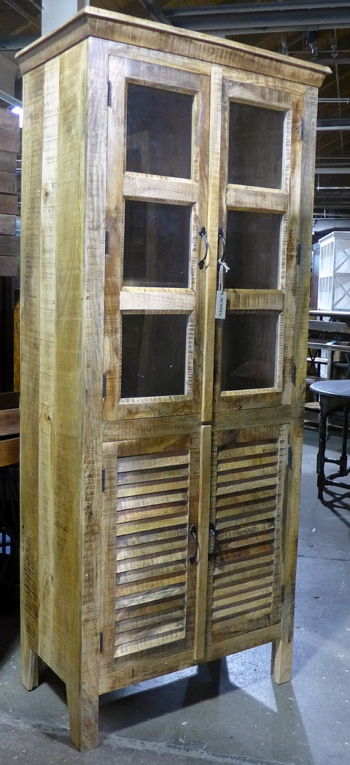 Tall Reclaimed Wood Display Cabinet With Shutter Doors Nadeau Chicago