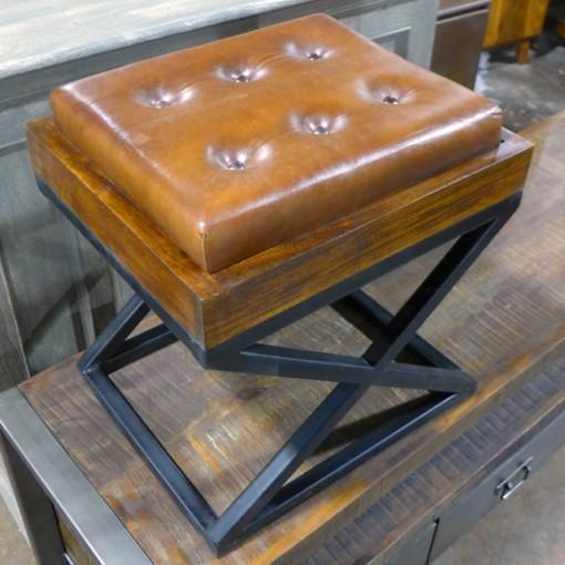 X Vanity Stool Leather Seat