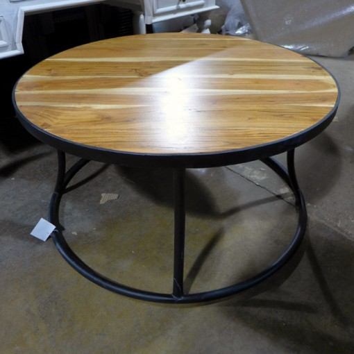 round coffee table iron and wood nadeau chicago