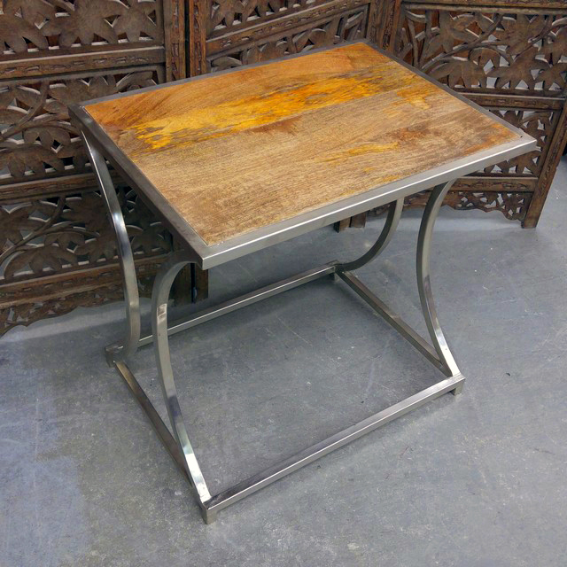 Iron and wood side table nadeau chicago for Iron and wood side table