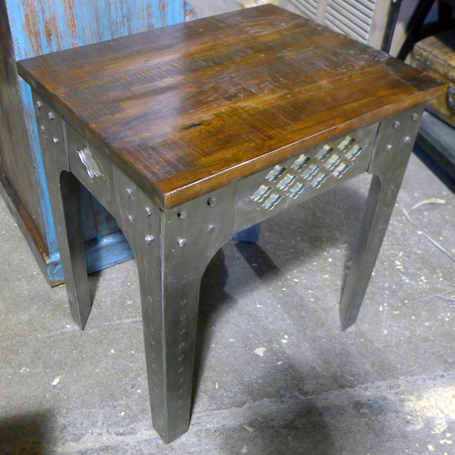 Iron and wood end table nadeau chicago for Iron and wood side table