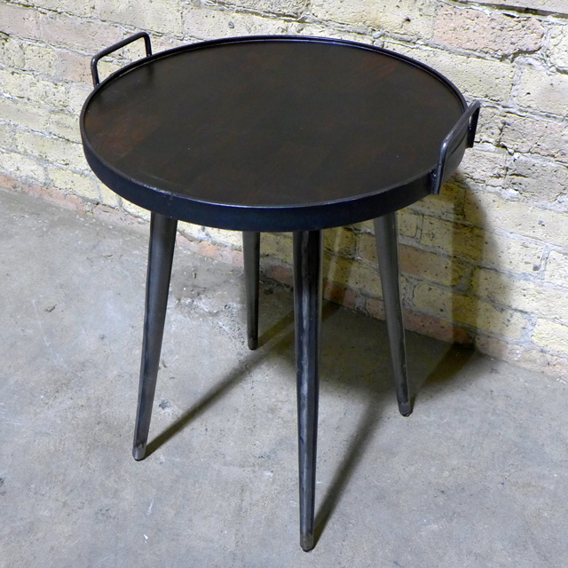 Industrial Side Table With Handle