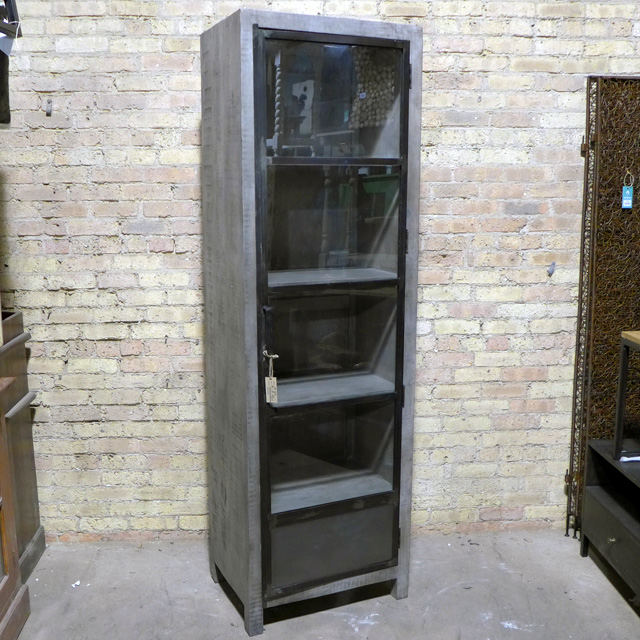 Metal And Wood Cabinet With Single Glass Door Nadeau Chicago