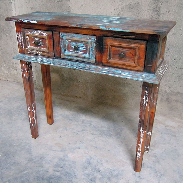 Narrow Sofa Table With Drawers: Three Drawer Narrow Console Table