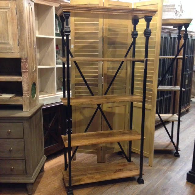 Iron And Wood Bookcase Nadeau Charleston