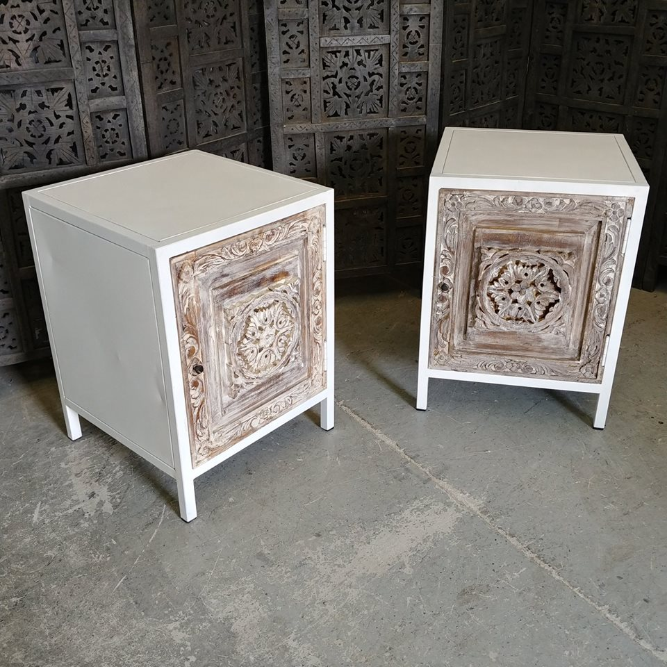 Iron Nightstand With Carved Wood Door Nadeau Charleston