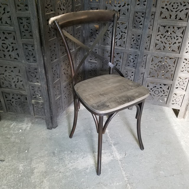 X Back Metal Chair With Wood Seat Nadeau Charlotte