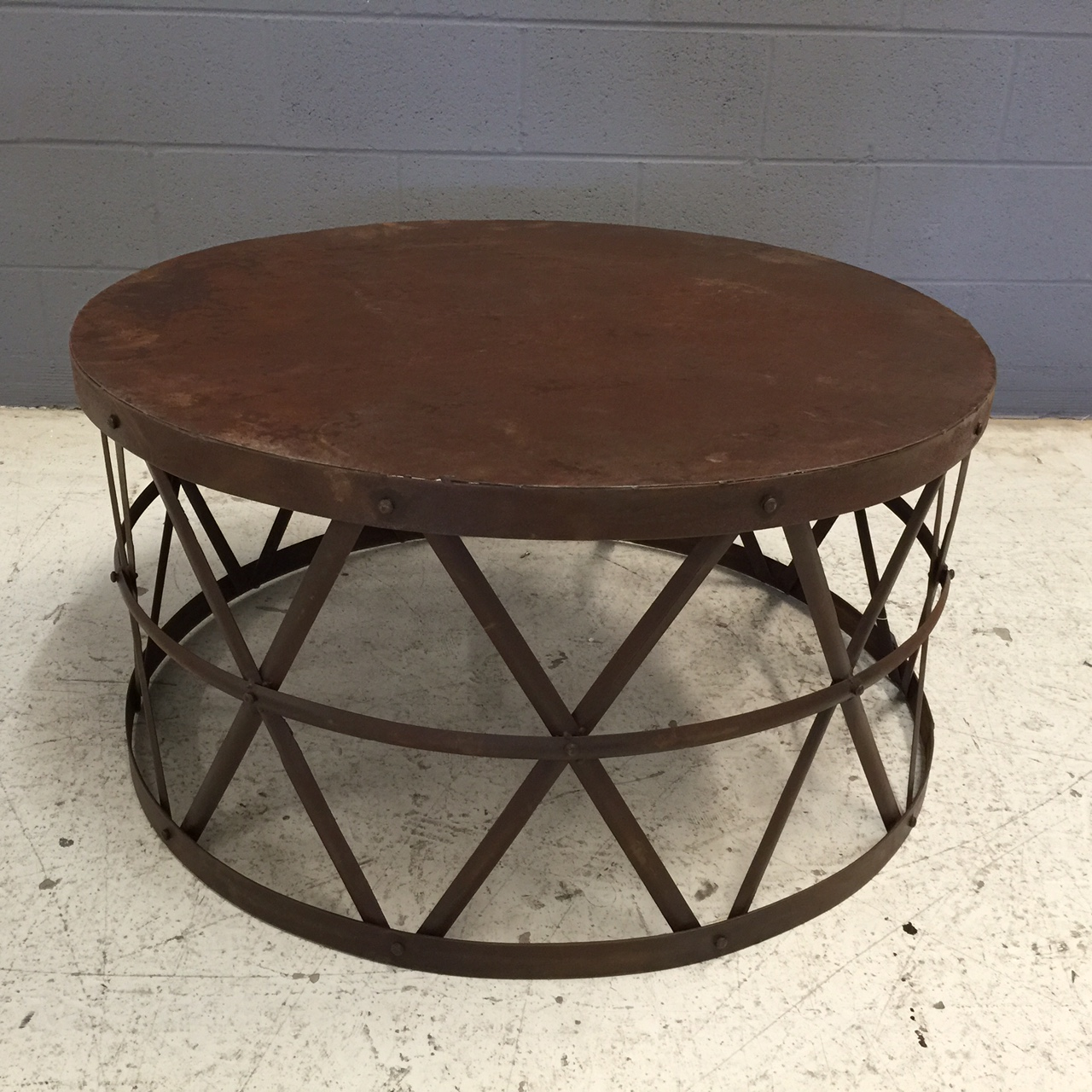 Low Metal And Glass Coffee Table: Round Metal Coffee Table