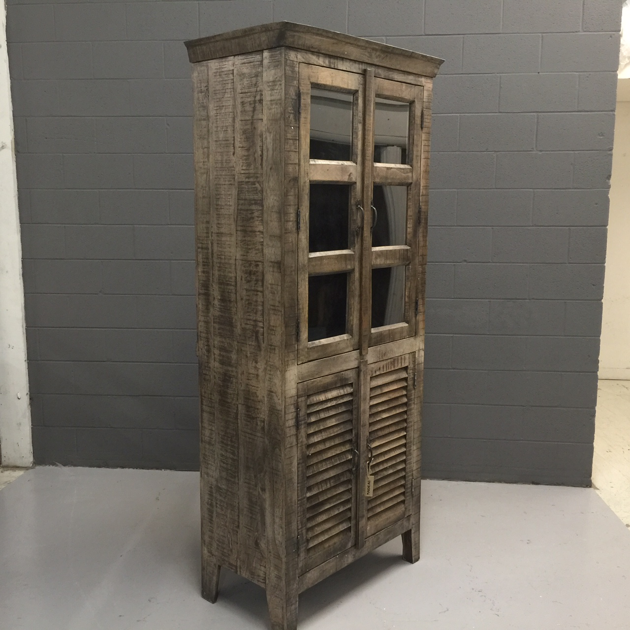 Tall Reclaimed Wood Display Cabinet With Shutter Doors