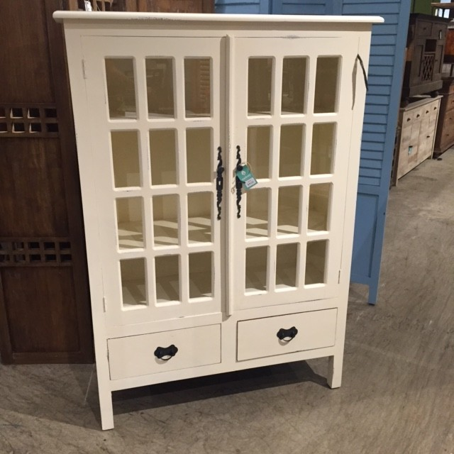 Arts And Crafts Glass Cabinet With Two Drawers