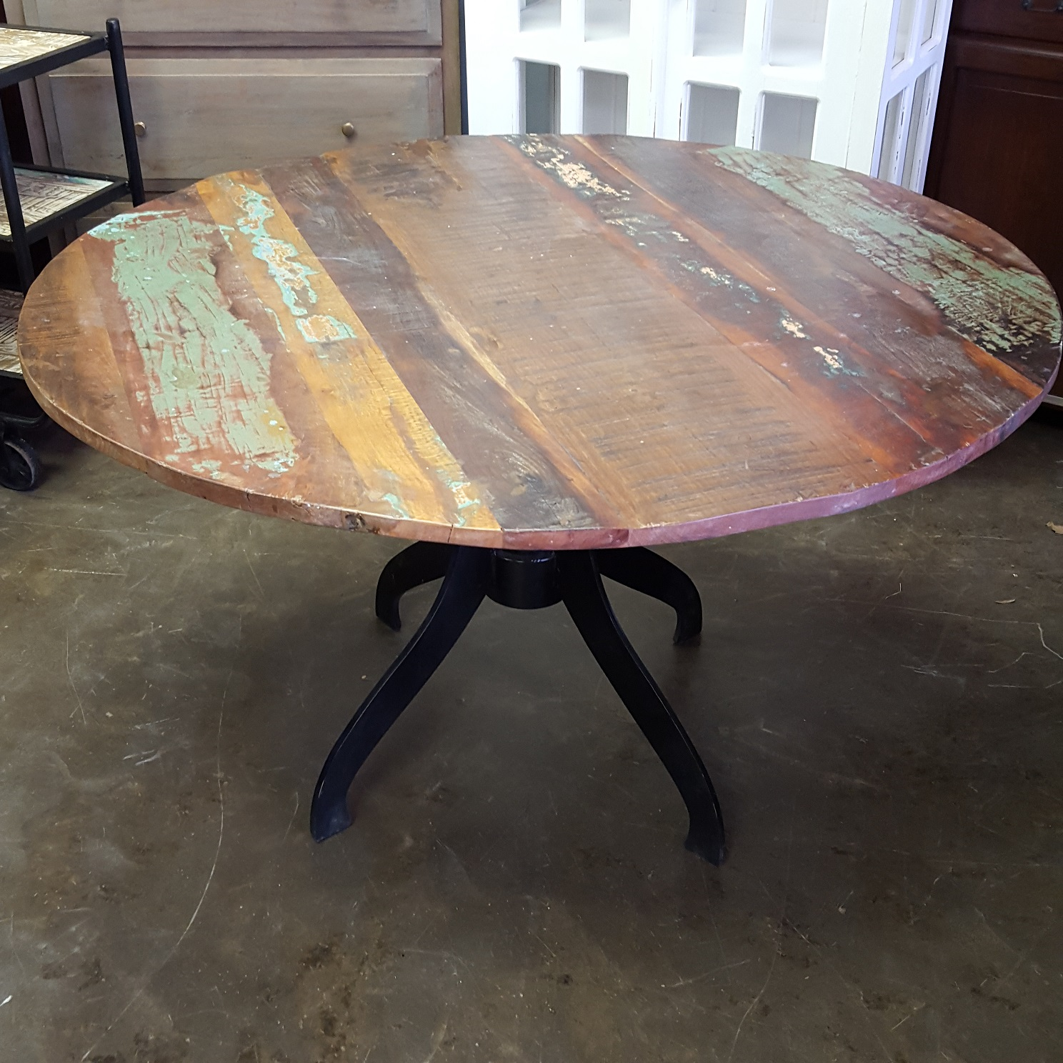 Dining Wood Table: Round Metal And Wood Dining Table