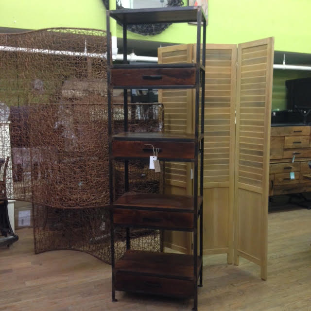 Iron And Wood Bookcase With Four Drawers Nadeau Paramus